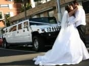 white hummer wedding Bride