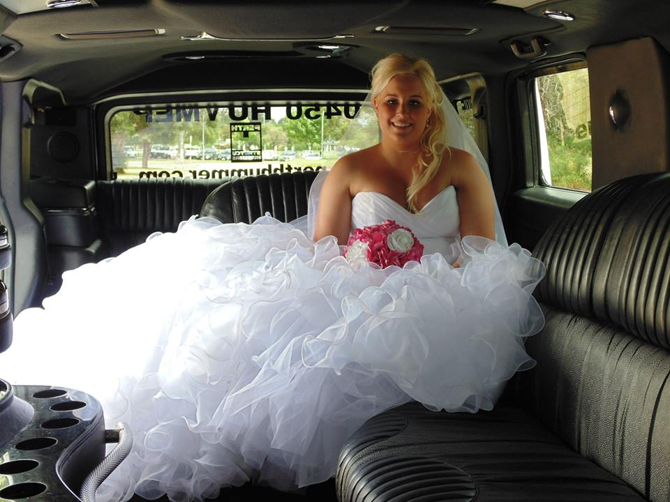 Beautiful Bride in Stretch Limo