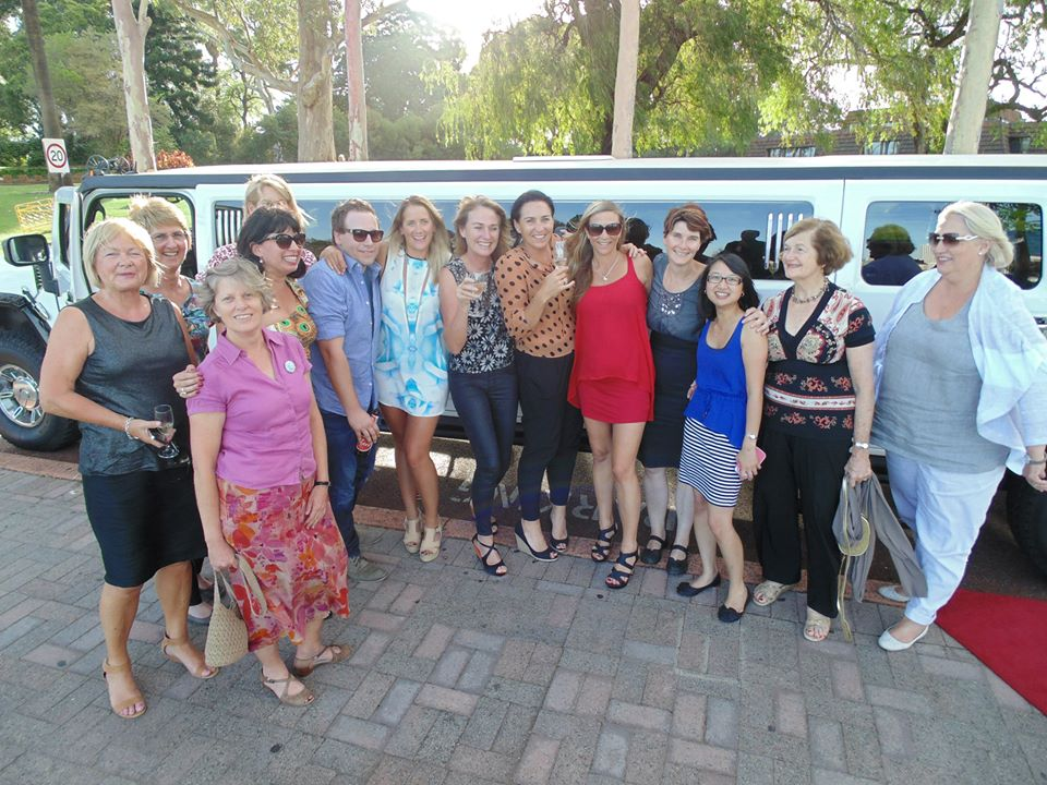 The ladies enjoying the White Hummer