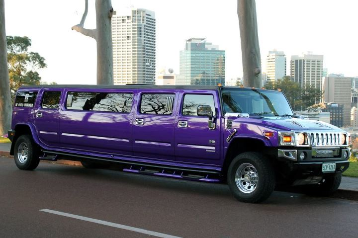 Purple Hummer limo in Kings park Perth